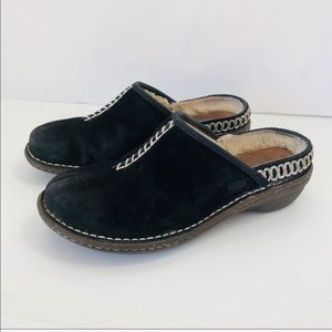 UGG Shoes - Ugg Kohala Black Suede Sheepskin Lined Mules 7